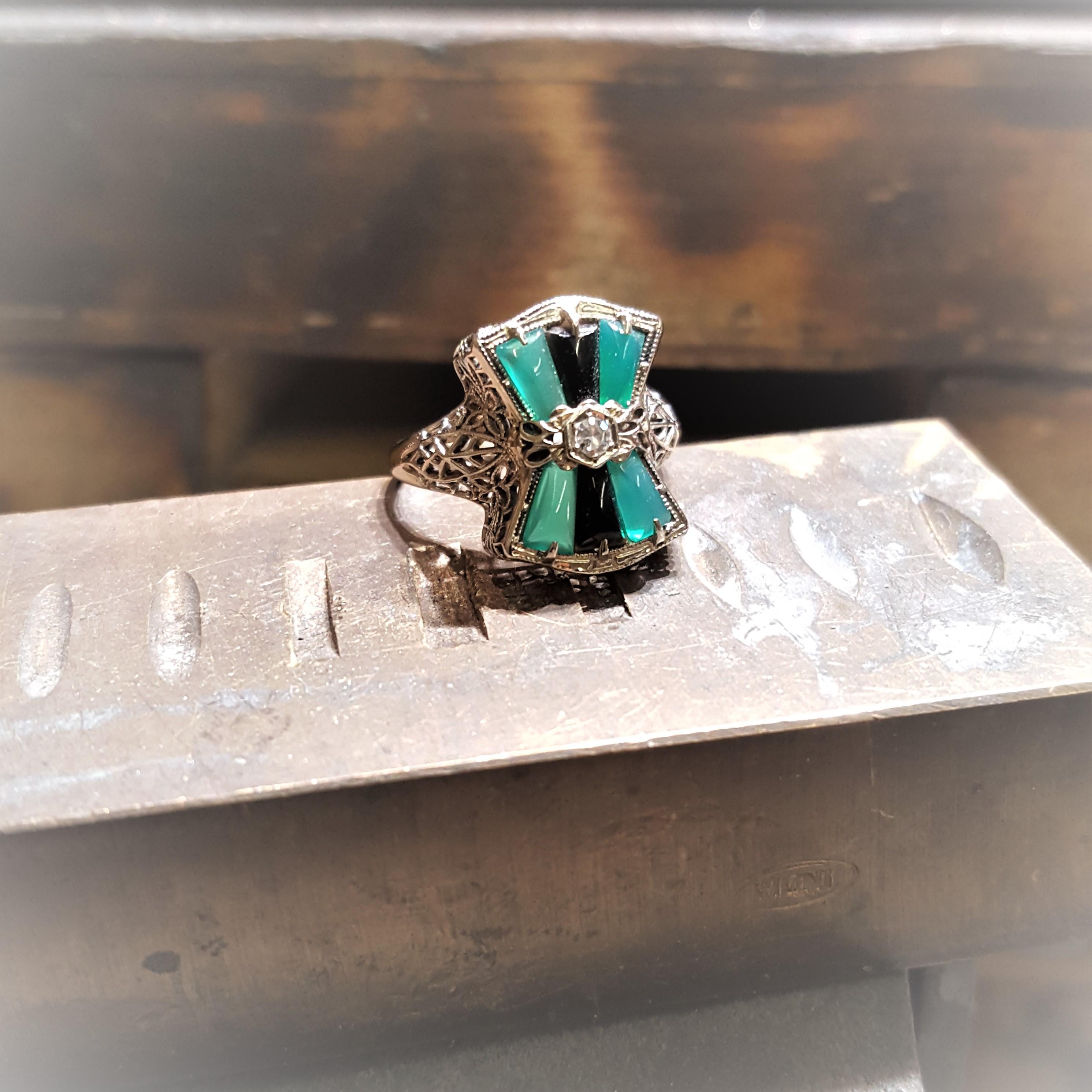 Vintage Emerald Onyx & Diamond