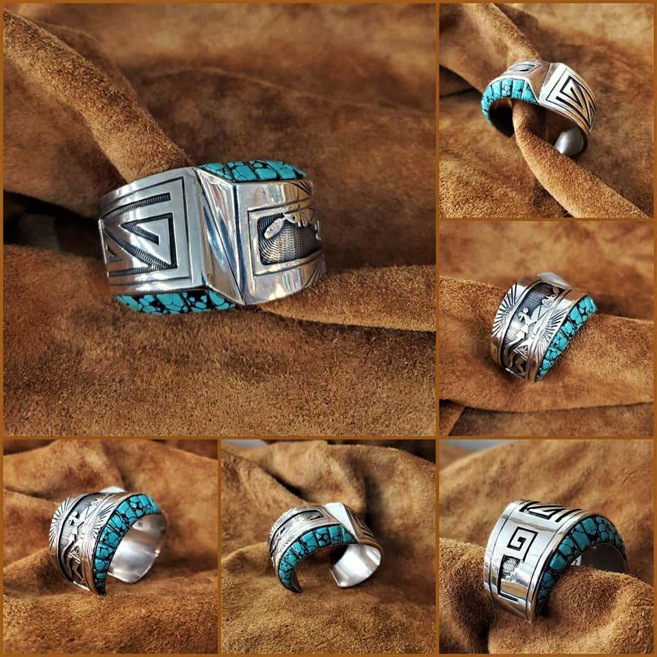 Navajo Charlie Bowie Sun Kachina Cuff Bracelet