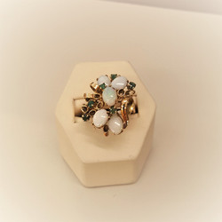Emerald Opal Retro Ring