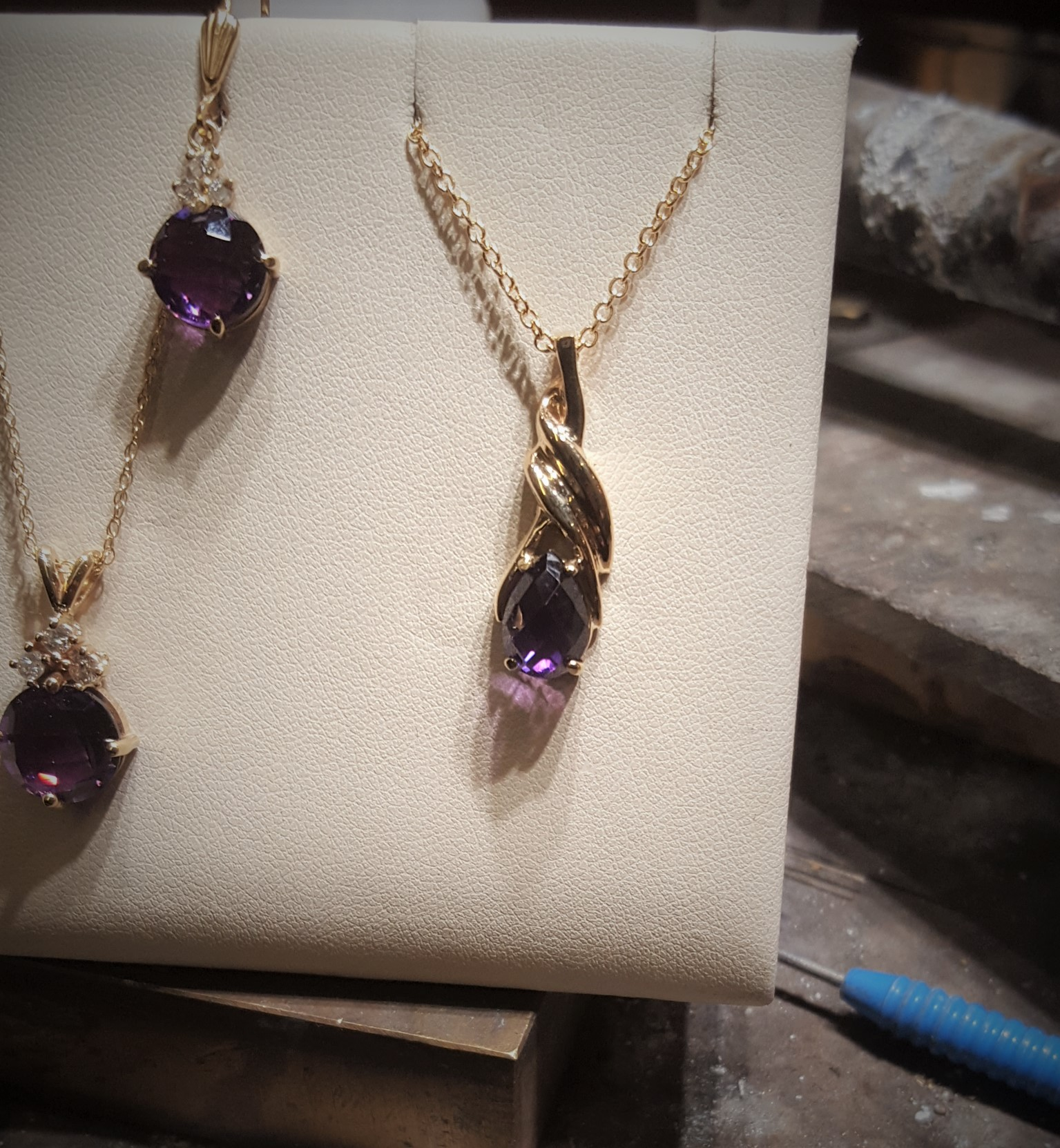 Checkerboard Pear Cut Amethyst