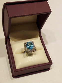 Blue Topaz 1.04ctw Diamond Halo