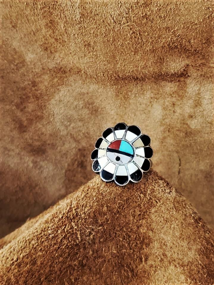 Zuni Inlaid Sun Face Ring