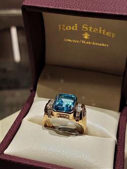 Swiss Blue Topaz .70ctw Diamonds
