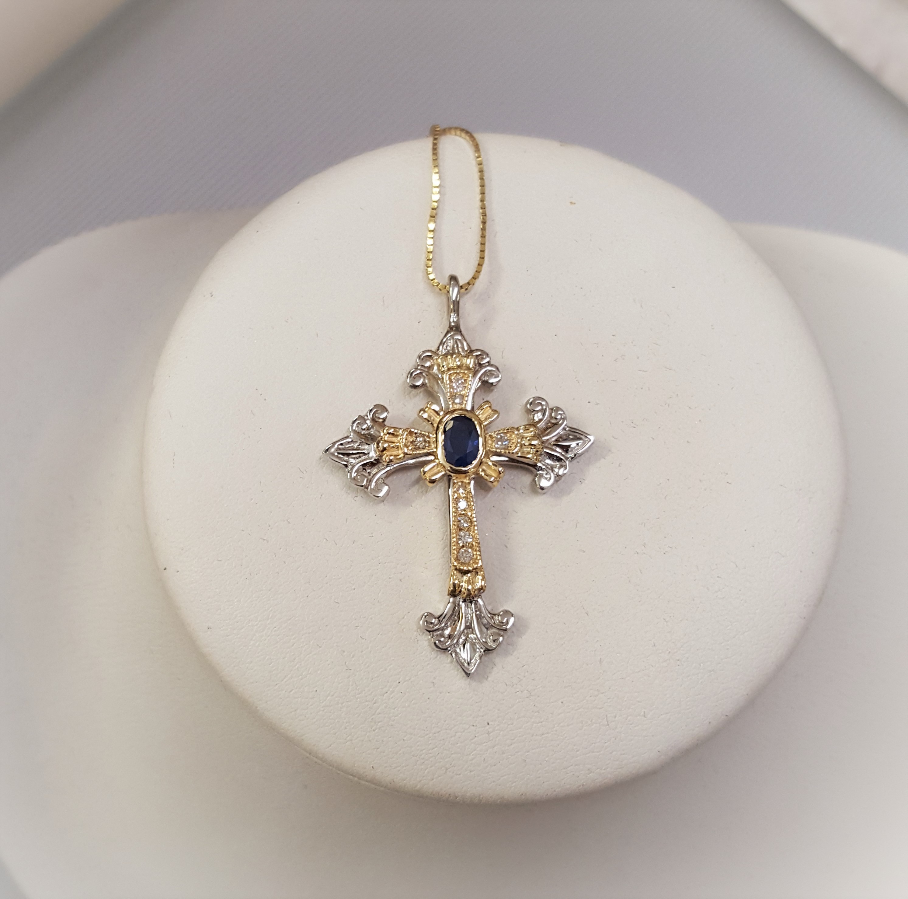 Blue Faceted Sapphire Diamond Cross
