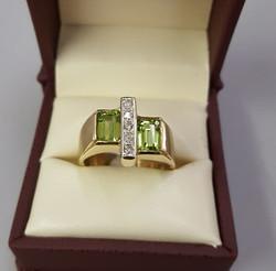 3.50ct Peridot with .15ctw Diamonds