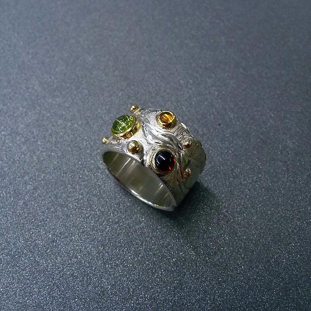 Peridot Garnet & Citrine Ring