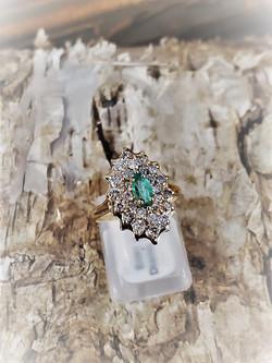 .23ct Emerald .65ctw Diamond Ring