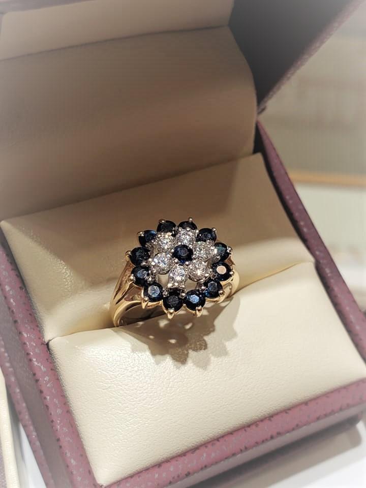 1.20ctw Sapphires .47ctw Diamonds
