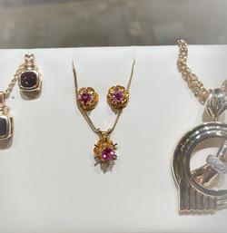Pink Sapphire Pendant Earrings Set
