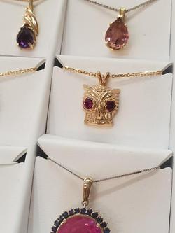 Owl Pendant with Garnet