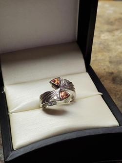 .65ctw Orange Sapphires .15ctw Diamonds