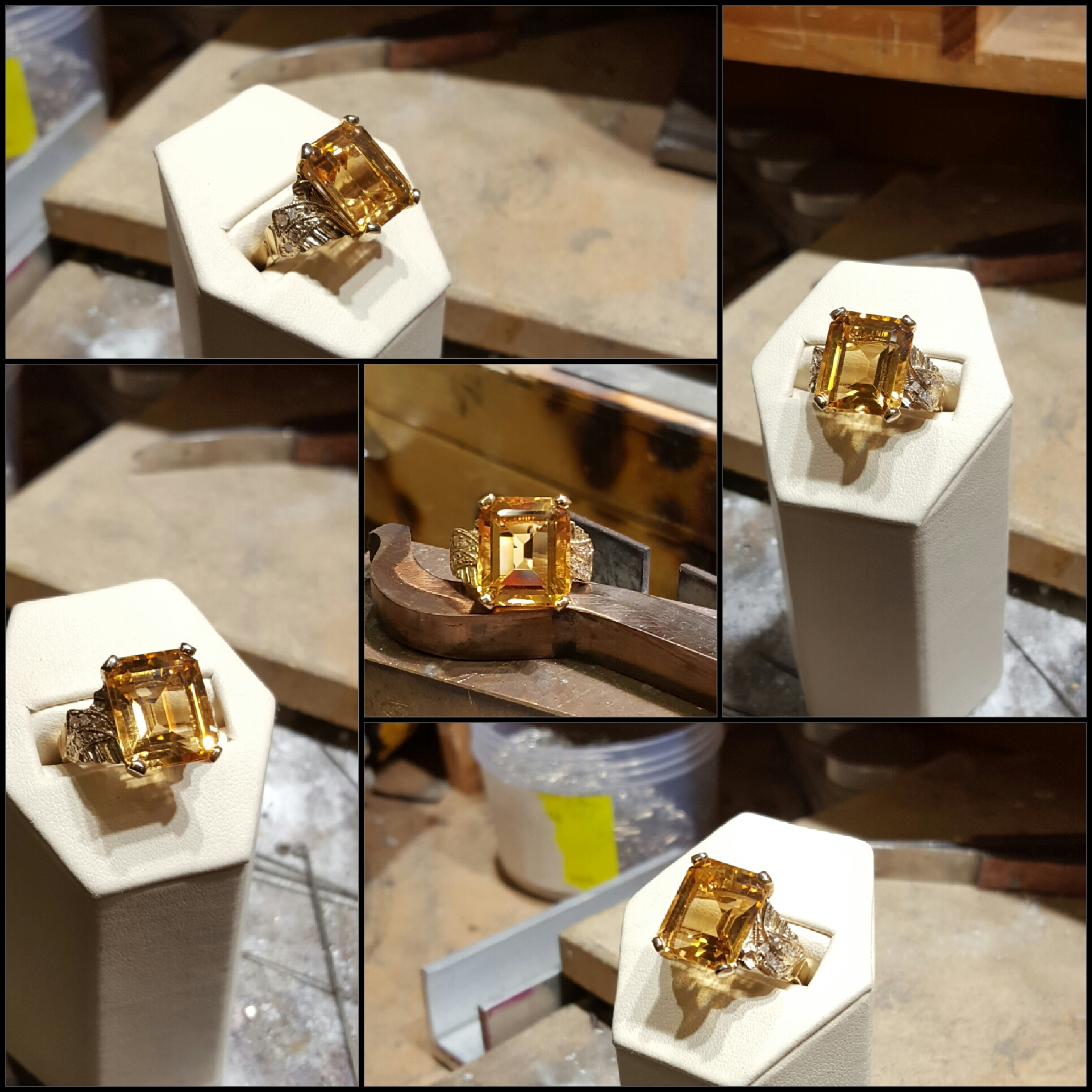 14x12mm Citrine .16ctw Diamonds