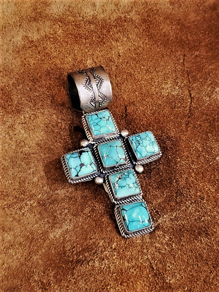 Navajo Randy Boyd Turquoise Cross Pendant