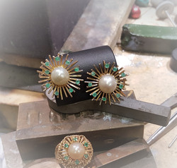 10mm Pearls with Natural Emeralds