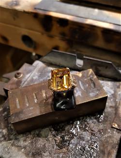14x12mm Citrine .16ctw Diamonds