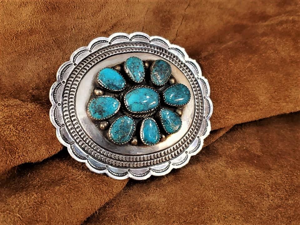 Navajo Bisbee Turquoise Belt Buckle