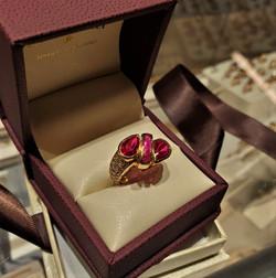 Ruby By-Pass Ring & Diamonds