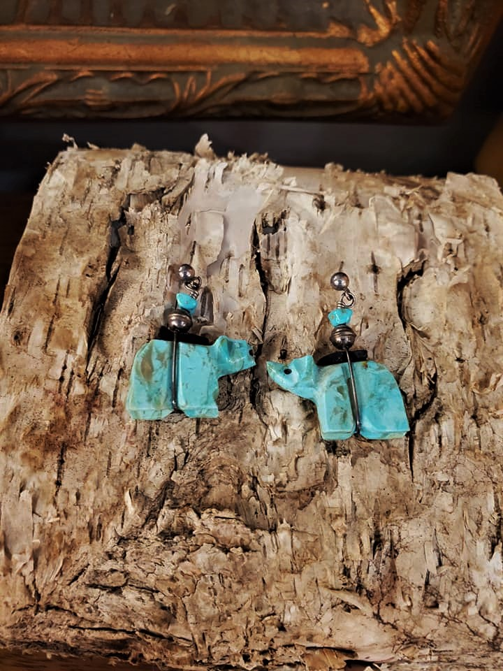 Turquoise Fetish Bear Earrings