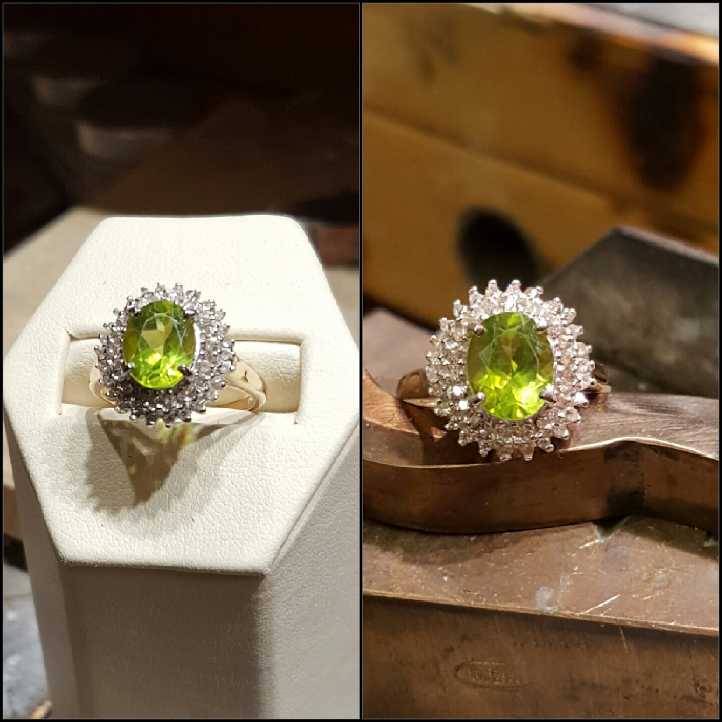 Peridot .50ctw Diamond Halo