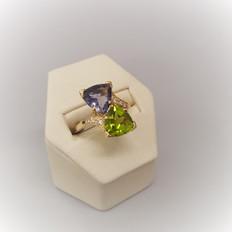 Iolite & Peridot Diamond Accents Ring