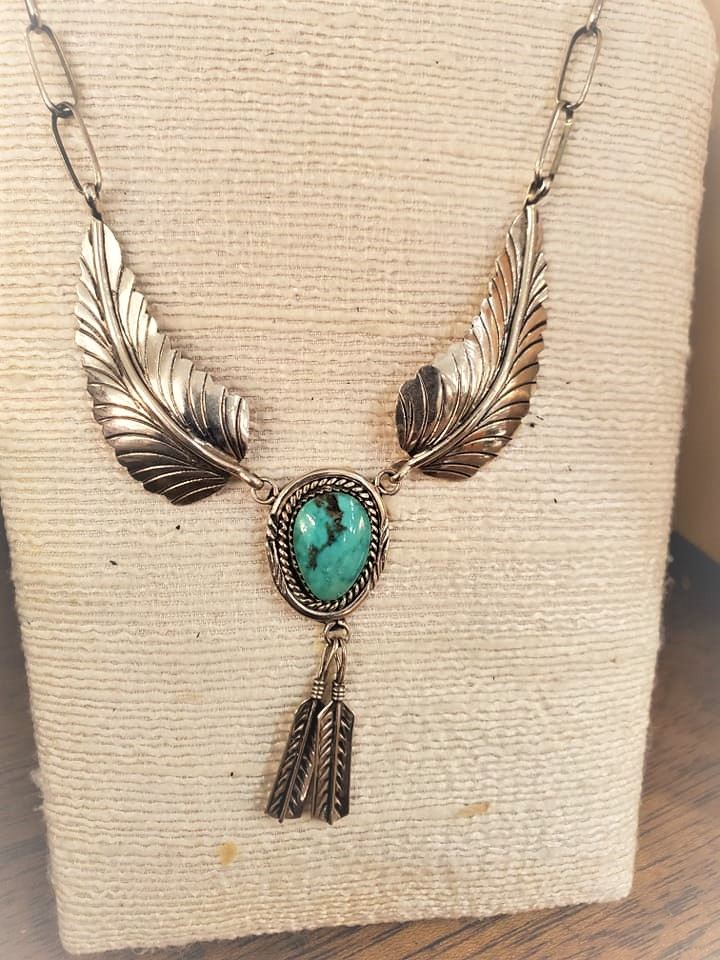 Signed Navajo Turquoise Feather Necklace