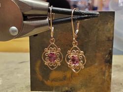 Pink Tourmaline Filigree Earrings