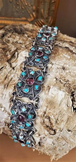 Taxco Mexico Turquoise Amethyst Bracelet