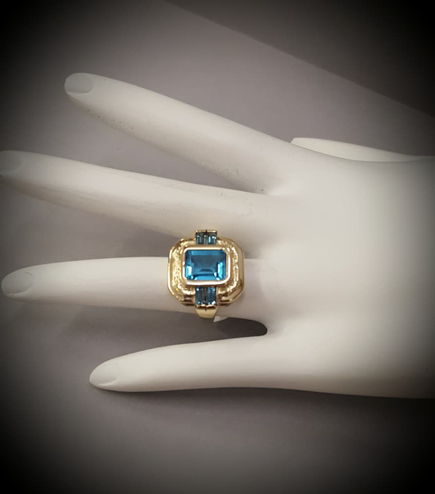 Swiss Blue Topaz & Diamonds