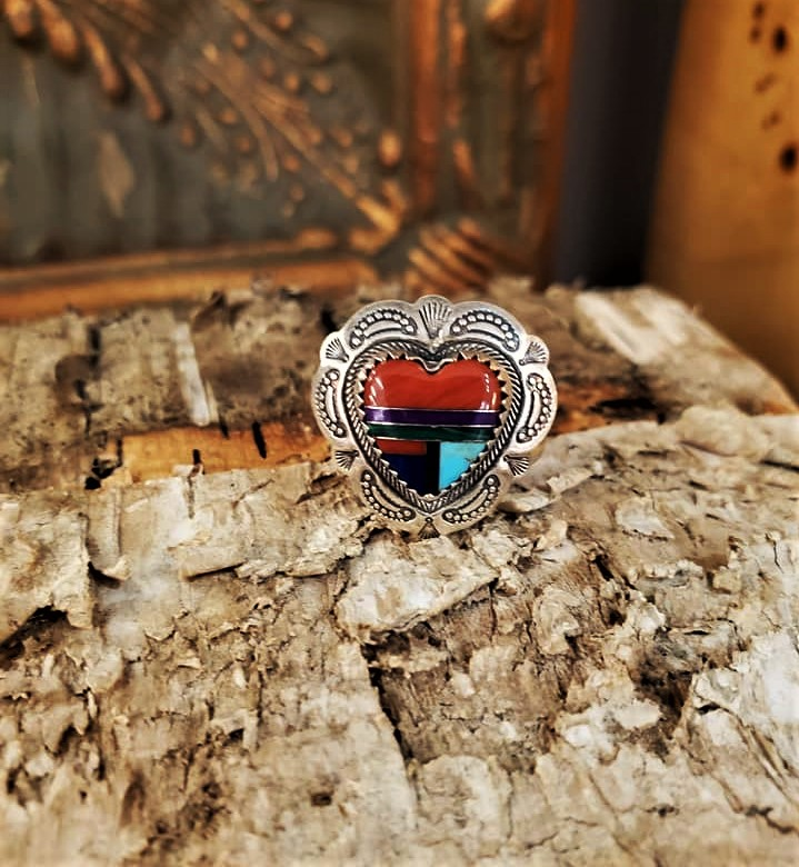 Signed Multi-Stone Inlay Ring