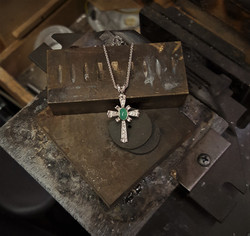 Chryoprase & Diamond Cross
