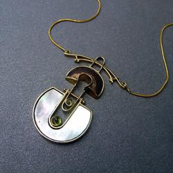 14k Gold Heat Scarred Copper Pendant