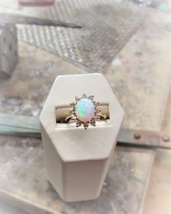 Opal with Diamond Halo