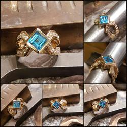 Blue Topax with .75ctw Diamonds