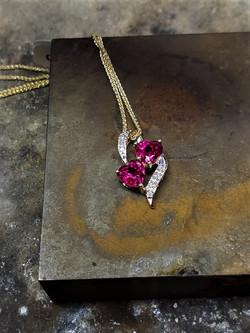 Ruby 2-Stone Diamond Pendant