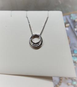 Circle Pendant with Diamonds
