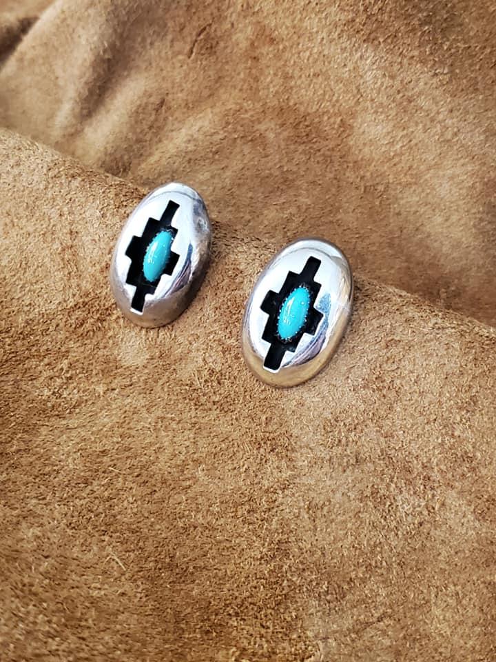 Navajo E/R Turquoise Shadow Box Earrings