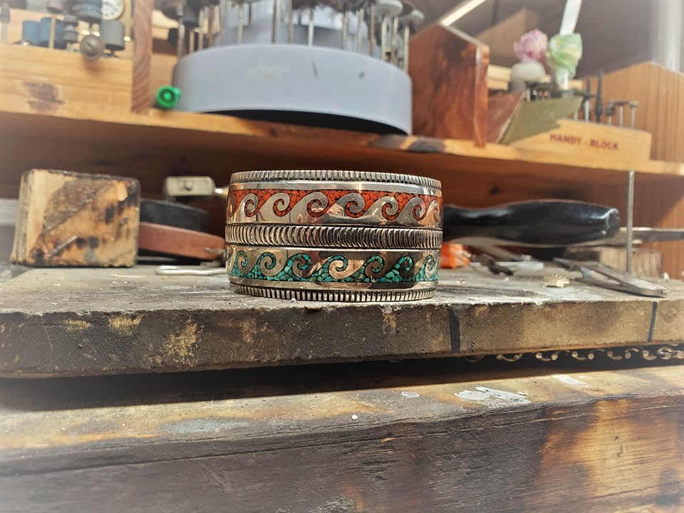 Lawrence Dodge Turquoise Coral Cuff
