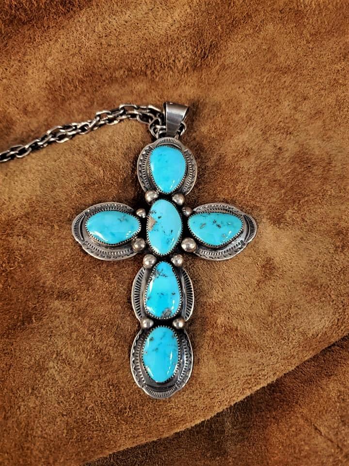 Navajo Leroy Benally Turquoise Cross Pendant