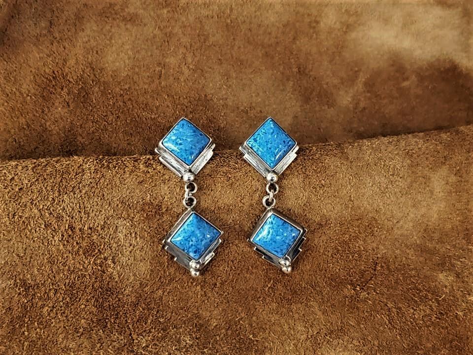 Navajo Richard Begay Denim Lapis Earrings
