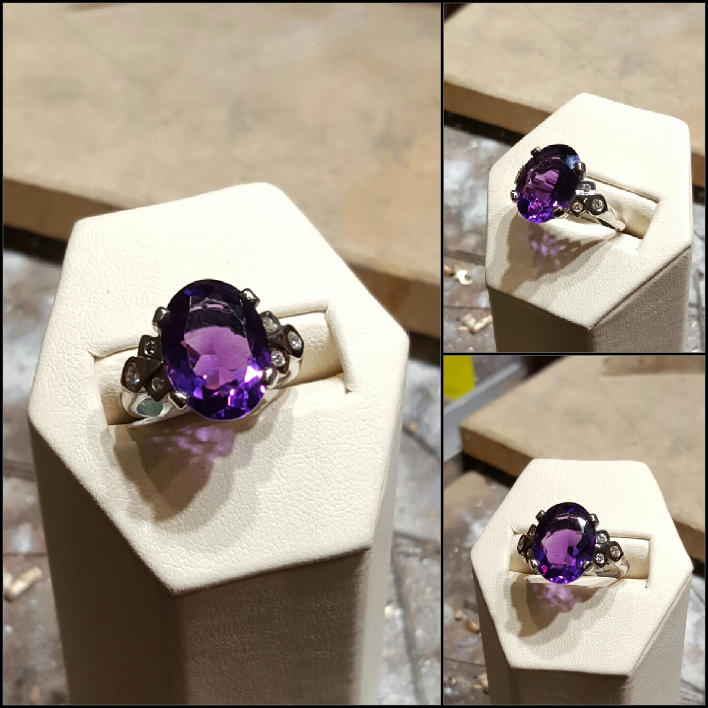 Amethyst with .25ctw Diamonds
