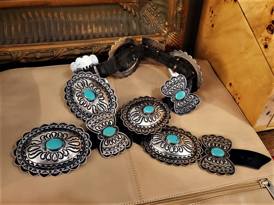 Kirk Smith Turquoise Concho Belt