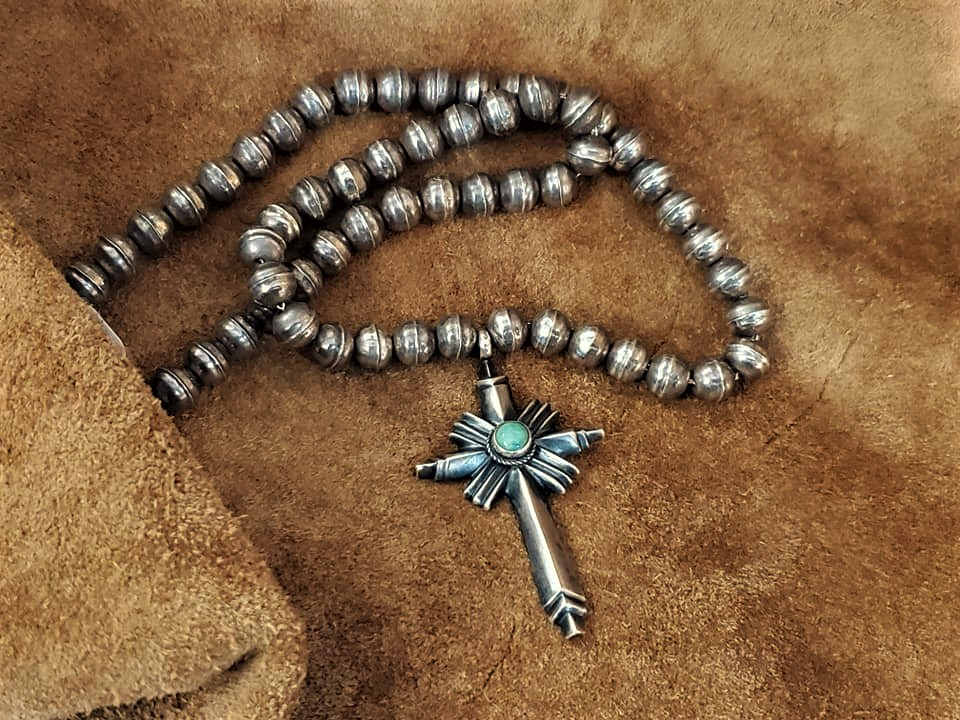 Navajo Linda Marble Turquoise Cross Necklace