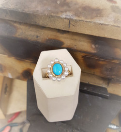 Turquoise with Pearl Halo