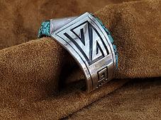Navajo Charlie Bowie Turquoise Kachina Bracelet