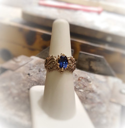 Natural Sapphire in Floral Setting