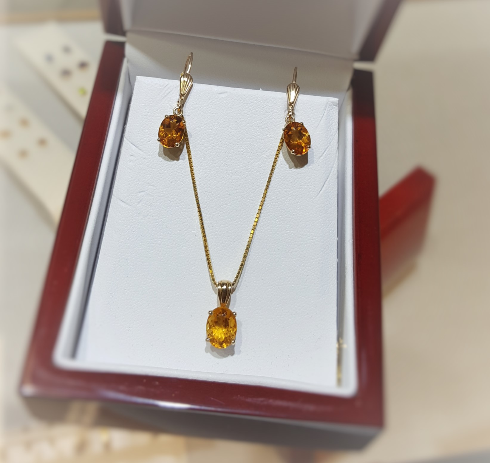 Citrine Pendant & Earrings