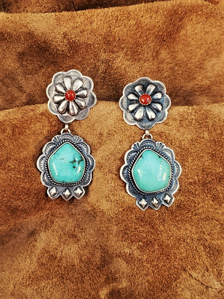 Navajo Bobby Johnson Turquoise Coral Earrings