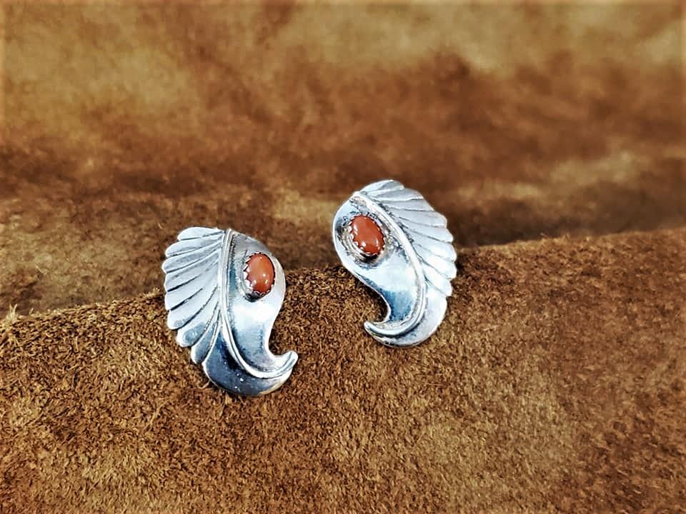 Navajo Leaf Coral Earrings
