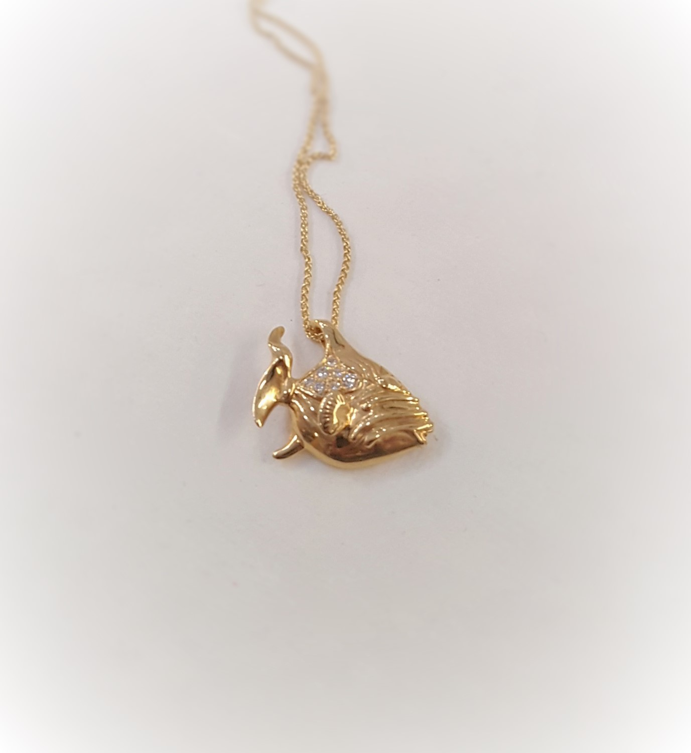 Gold Fish & Diamond Pendant