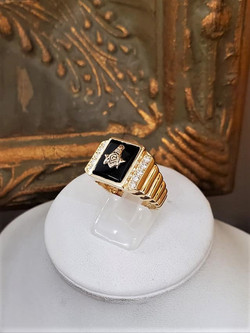 Onyx & Diamond Masonic Ring